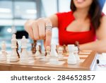 business woman sitting in front ... | Shutterstock . vector #284652857