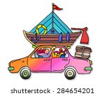 a happy family going on holiday ... | Shutterstock . vector #284654201