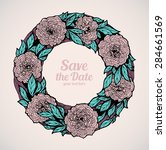 wreath of roses  peonies.... | Shutterstock .eps vector #284661569