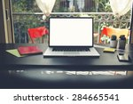 workplace with open computer ... | Shutterstock . vector #284665541