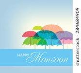 background for happy monsoon... | Shutterstock .eps vector #284684909