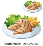 grilled chicken strips.... | Shutterstock .eps vector #284699651