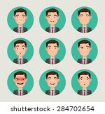 emotions faces vector characters | Shutterstock .eps vector #284702654