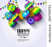 vector birthday card with... | Shutterstock .eps vector #284709551