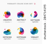 set of trendy abstract  vibrant ...