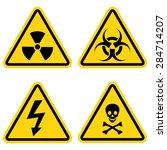 hazard warning icon set  | Shutterstock .eps vector #284714207