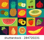 Pop Art Grunge Style Fruit...