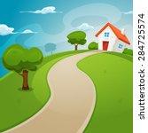 house inside green fields ... | Shutterstock .eps vector #284725574