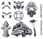 set of designed firefighter... | Shutterstock .eps vector #284740691