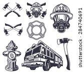 Set Of Designed Firefighter...