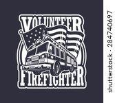 vintage firefighter emblem with ... | Shutterstock .eps vector #284740697