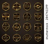 set of retro gold and black... | Shutterstock .eps vector #284742299