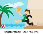 happy businessman going to... | Shutterstock .eps vector #284751491