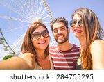 best happy friends  with mobile ... | Shutterstock . vector #284755295