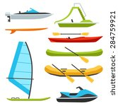 Vector Types Of Boats  Water...