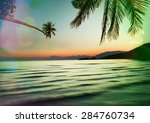 serenity tropical beach... | Shutterstock . vector #284760734