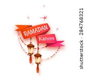 banner with red ribbon and... | Shutterstock . vector #284768321