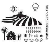 agriculture farm icons set flat | Shutterstock .eps vector #284775101