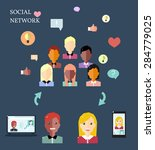 conceptual image with social... | Shutterstock .eps vector #284779025