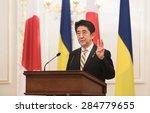 Small photo of KIEV, UKRAINE - Jun 06, 2015: Japanese Prime Minister Shinzo Abe during his meeting with President of Ukraine Petro Poroshenko in Kiev