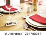 reserved sign on a restaurant... | Shutterstock . vector #284780357