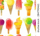 ice cream pattern. watercolor... | Shutterstock .eps vector #284790461