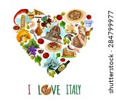 italy poster with cartoon... | Shutterstock .eps vector #284799977