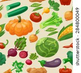 vegetables seamless pattern... | Shutterstock .eps vector #284800049