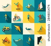 extreme sports flat long shadow ...   Shutterstock .eps vector #284801474