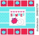 summer card ladybugs vector... | Shutterstock .eps vector #284803709