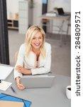 happy blond businesswoman... | Shutterstock . vector #284809571
