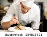 male chef garnishing his dish ...   Shutterstock . vector #284819921