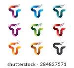 set of letter t logo design... | Shutterstock .eps vector #284827571