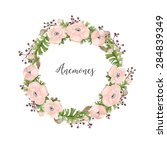 floral watercolor wreath of... | Shutterstock . vector #284839349