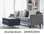 modern grey sofa with pillows... | Shutterstock . vector #284842004