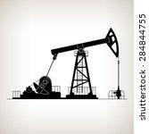 silhouette pump jack or oil... | Shutterstock .eps vector #284844755