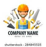 construction worker vector logo ... | Shutterstock .eps vector #284845535