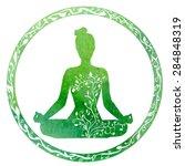 vector silhouette of yoga woman ...   Shutterstock .eps vector #284848319