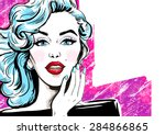 fashion illustration of girl. ... | Shutterstock . vector #284866865