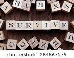 Small photo of the word of SURVIVE on cubes