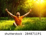 a happy man is relaxing on... | Shutterstock . vector #284871191