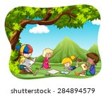 children reading and writing in ... | Shutterstock .eps vector #284894579