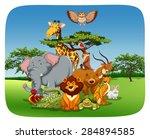 wild animals sitting in the... | Shutterstock .eps vector #284894585