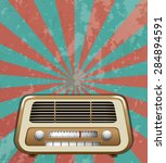 vintage radio with beamlight... | Shutterstock .eps vector #284894591