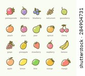 set of fruits and berries icons | Shutterstock .eps vector #284904731