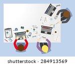 business meeting flat... | Shutterstock .eps vector #284913569
