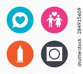 circle buttons. condom safe sex ... | Shutterstock .eps vector #284915609