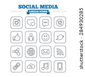 social media linear icons set.... | Shutterstock .eps vector #284930285