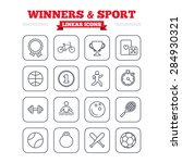 winners and sport linear icons... | Shutterstock .eps vector #284930321
