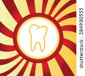 yellow icon with tooth contour  ...
